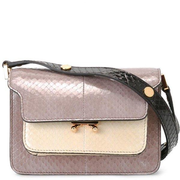 Marni Trunk shoulder bag (€1.645) ❤ liked on Polyvore featuring bags, handbags, shoulder bags, grey, shoulder handbags, genuine leather shoulder bag, gray purse, drawstring shoulder bag and gray leather purse