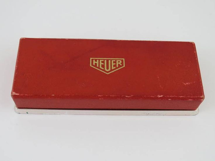 vintage heuer chronograph mens wristwatch red made in switzlerland handmade box by Bohemianwatchsource on Etsy