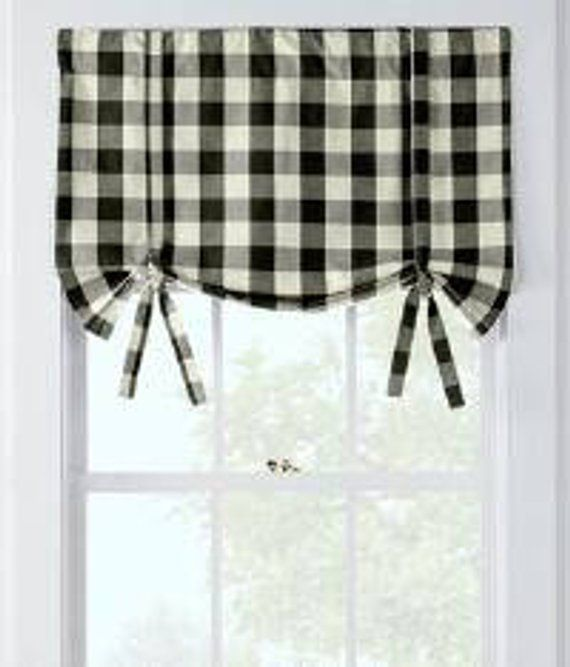 Buffalo Check Tieup Valance In Black And White Country Kitchen