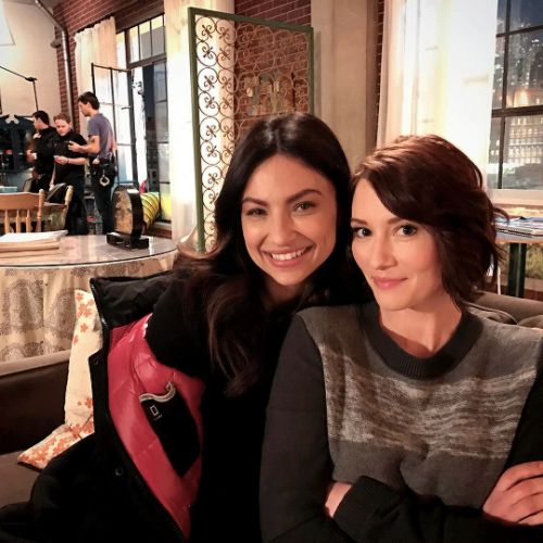 Chyler Leigh (Alex Danvers) and Floriana Lima (Maggie Sawyer) on the set of Supergirl