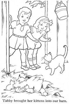 vintage coloring pages of children - photo#16
