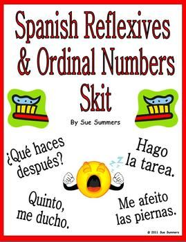 Spanish Reflexive Verbs & Ordinal Numbers Skit & Translation Worksheet by Sue Summers. Spanish pair work, partner activity.