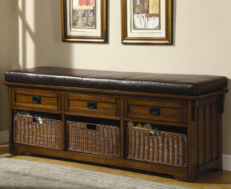Coaster Oak Large Storage Bench With Baskets