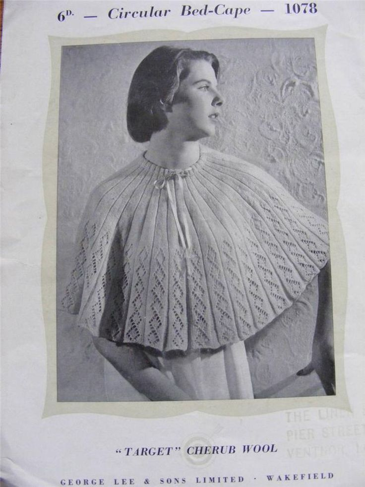 Vintage 1940s Lady s Circular Bed Jacket Cape Knitting Pattern - Length 16 inch