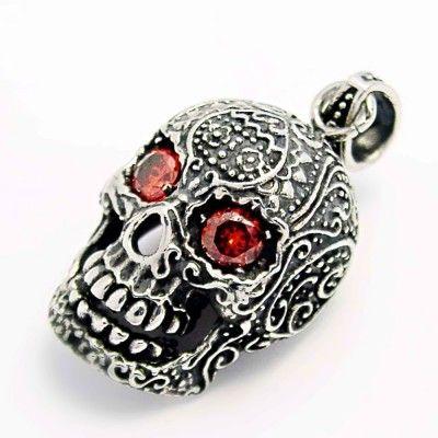 Ocelový přívěšek - Lebka / Morte Skull / Red Eyed (5741). Odkaz na WEBSHOP: http://www.ocelovesperky4u.cz/ocelove-privesky/235741-skull-privesek-murte