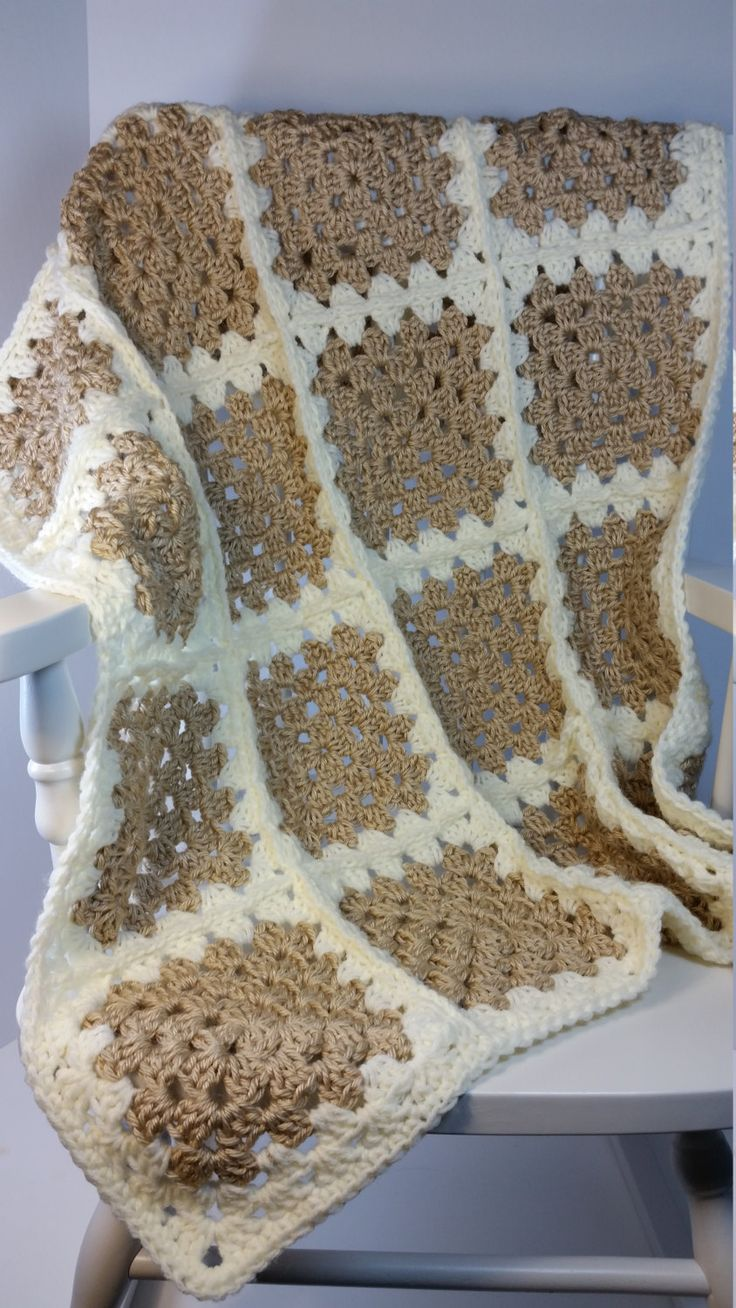 Crochet Baby Blanket Beige Creme Granny Square Stroller Size Car Seat Cover…