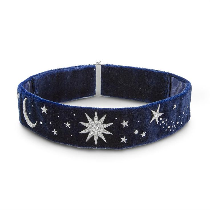 LOVE, MAGIC AND NIGHT SKY - A velvet and diamond choker