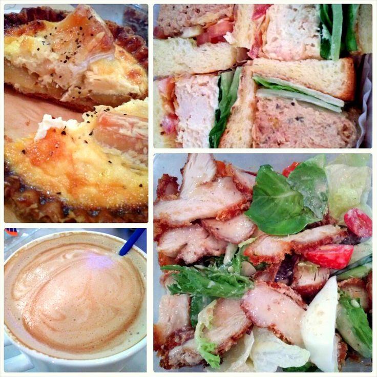 Paris Baguette, Singapore. Camembert Cheese Quiche, Tuna & Chicken Sandwich, Chicken Salad, and Cafe Latte