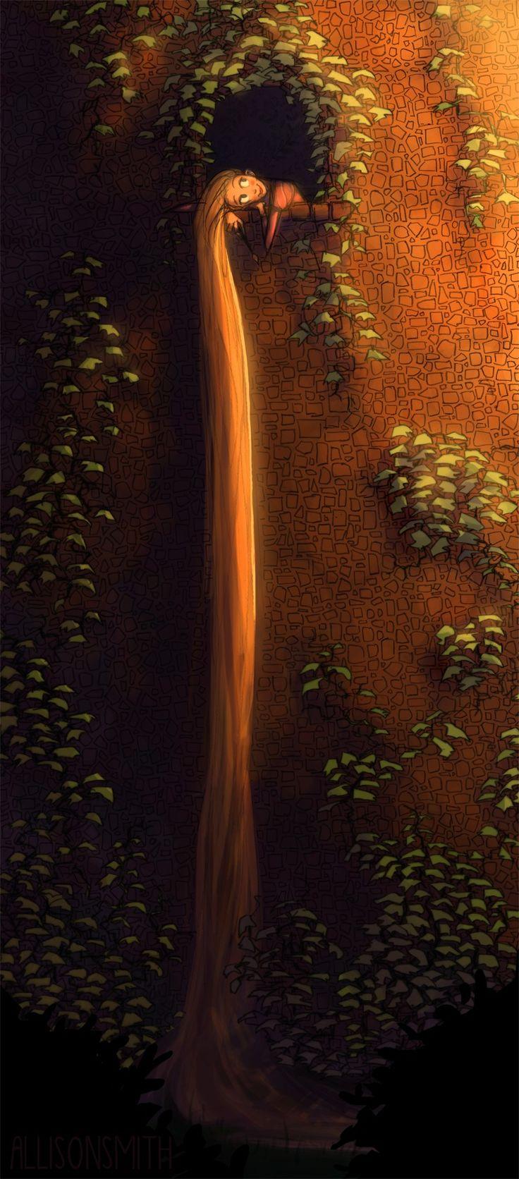 att låta håret växa. rapunzel, trassel