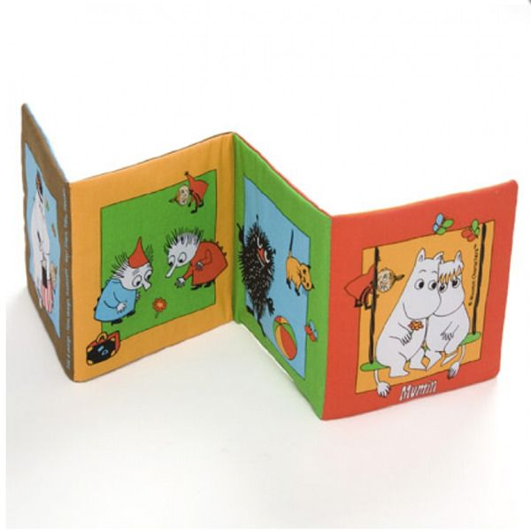Moomin picture book with rustling and spout. Soft, durable and reliable picture book. Eight pages with designs of Moomin and his family. Images have just enough detail and rustling and spout uploads. Also suitable for very young children and stimulate vision, hearing and touch.
