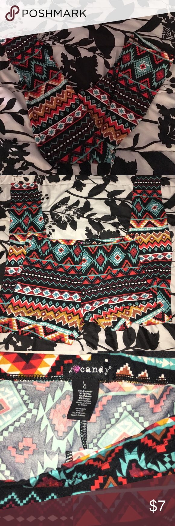 Tribal print red/black leggings never used Soft Tribal print leggings in large. Just tried it in on and took the tags off. Brand: eyecandy eyecandy Pants Leggings