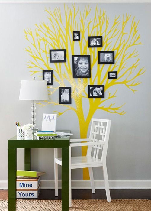 Grow a Family Tree.  A tree painted on the wall or applied with a premade vinyl transfer offers a unique opportunity to display the different branches of people in your family.    Cute!!