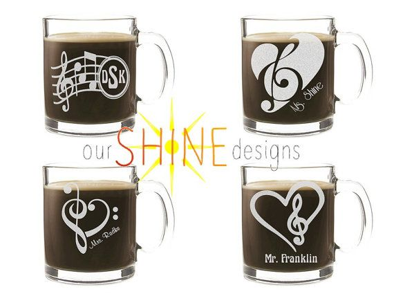 Etched Music Coffee Cup - Personalized Gift - Music Teacher Gift - Musician Gift - Engraved Glass Mug - Piano - Band - Free Domestic Ship