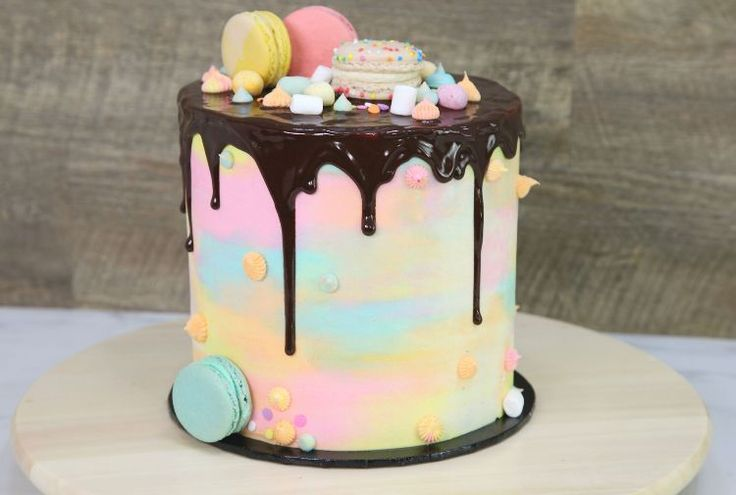 Watch how to make a stunning watercolor cake with a surprise topping