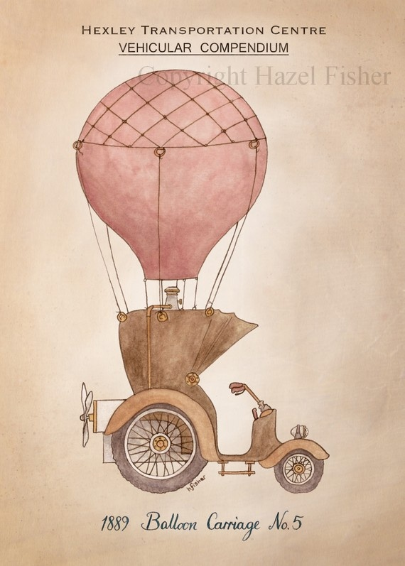 For her room.  ACEO print Balloon Carriage no.5 steampunk illustration by HazelFisherCreations Etsy