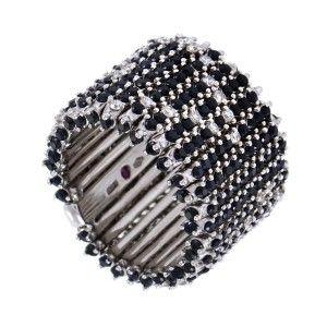 Roberto Coin Bollicine 18K White Gold Diamond Black Sapphire Pave Band Ring