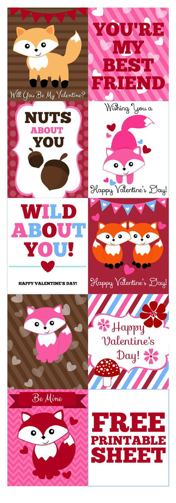 Free Valentine's Day Fox Printables from Jessica Sawyer Design