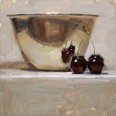 """Reflecting Love"" - by Carol Marine - oil - 6x6 - Metal Bowl & Cherries"