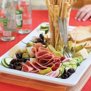 """Lemon-Basil Antipasto ~ Antipasto means """"before the meal."""" Each ingredient is called an """"antipasti."""" Provolone is usually packaged in half-moon shapes and found on the specialty cheese aisle. We prefer the taste and texture of provolone cheese labeled """"sharp"""" (or """"piquant"""") over low-sodium choices. We also like the mildly seasoned Genoa salami over smoky hard salami. ~ http://www.myrecipes.com/recipe/lemon-basil-antipasto-10000001713135/"""