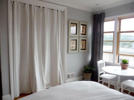 Grey Walls, Curtains For Closet Doors