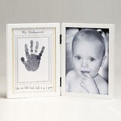 "Godparents gift idea: ""Take My Little Hand, Hold it as I Grow"" or ""Thank you for teaching my little hands to pray"" with both hand prints."