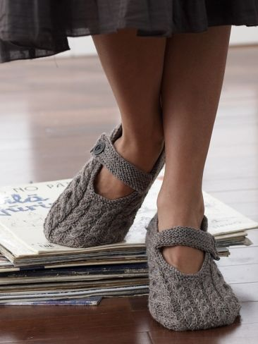 Cabled Slippers | Yarn | Free Knitting Patterns |  | Yarnspirations