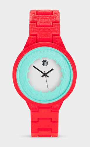 This bright orange and teal watch is made from a 3D printer! 7 more pieces of statement-making jewelry: http://blog.womenshealthmag.com/beauty-style-buzz/moma-jewelry/