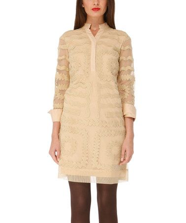Take a look at this Beige Smart Embroidered Dress by Almatrichi on #zulily today!