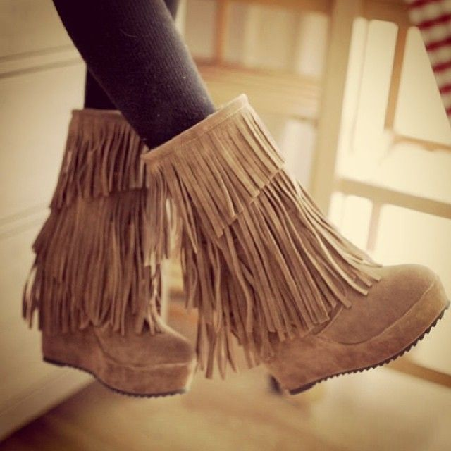 Fringe wedges! Ah! The flat boots are okay but these are great! Love how it looks as long as it looks classy :)