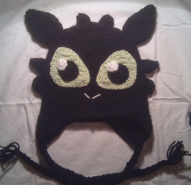 """Hainute copii tricotate si crosetate la comanda: Caciula crosetata """"Dragonul Toothless """""""
