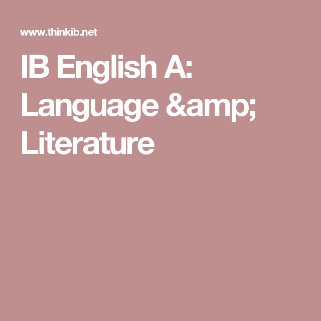 IB English A: Language & Literature