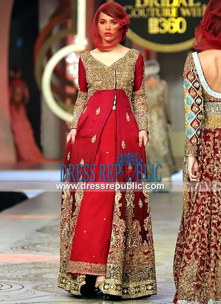 Royal Red Braska - DR11013, HSY Red Sharara Dresses at Pantene Bridal Couture Week 2013, 2014 by www.dressrepublic.com