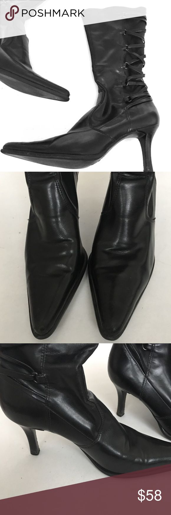 Franco Sarto Heeled Boots Beautiful boots with lace up style calves & pointed toes. Great condition! Franco Sarto Shoes Heeled Boots