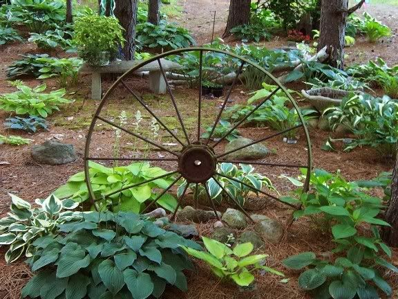 Wagon Wheel Garden | pot in a friends garden that I absolutely adore...been looking for ...