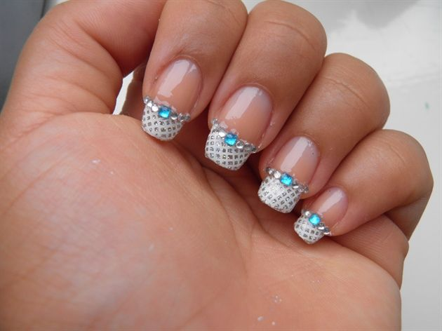 Love the nail tips!  Any color could be added for a personal touch. Bridal nail art by Creativenailart from Nail Art Gallery