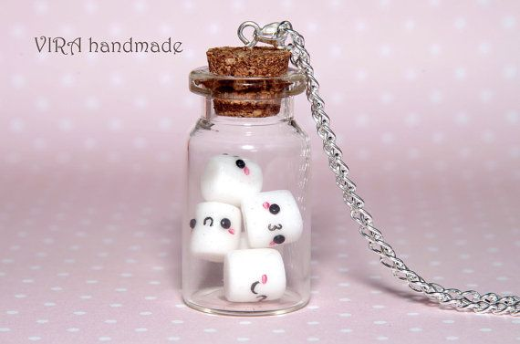 Kawaii marshmallow glass jar necklace by VIRAhandmade on Etsy, $29.00