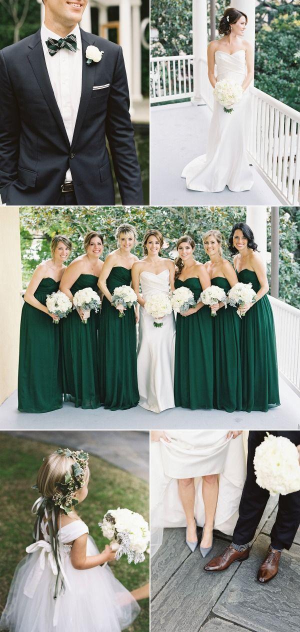 Striking emerald green bridesmaid dresses (and a super cute flowergirl!).  A Wanaka Wedding.
