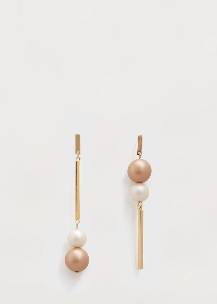 Brincos pendentes bicolores | MANGO