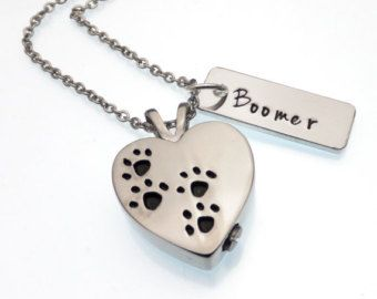 Pet ashes jewelry cremation urn necklace dog by StampedByEmma