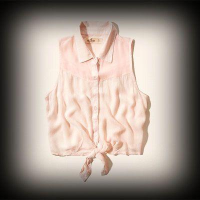 Hollister レディース シャツ  ホリスター La Jolla Cove Shirt ノースリーブシャツ★裾を結ぶことによってこなれ感がでてお洒落。両胸のポケットがポイント! ★コットン-100% で肌ざわり着心地バツグン!