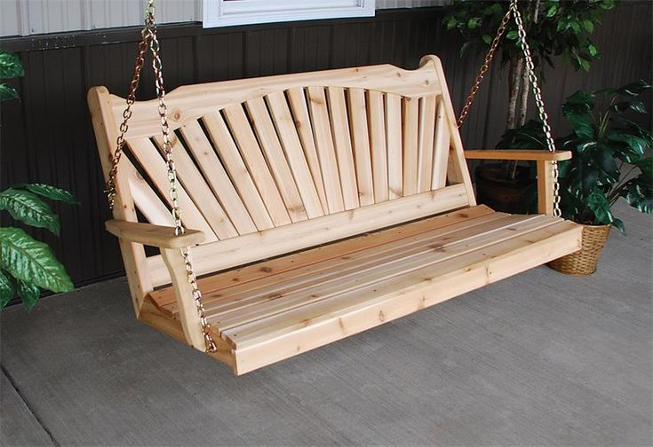 Amish Cedar Wood Fanback Swing Pick the size and custom options you're looking for with this cedar outdoor furniture.