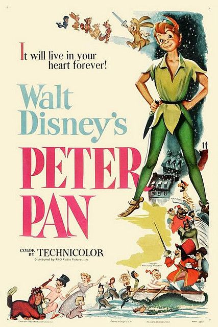 Vintage disney poster of the classic 'Peter pan' definitely a must read for your children. Enthralling.