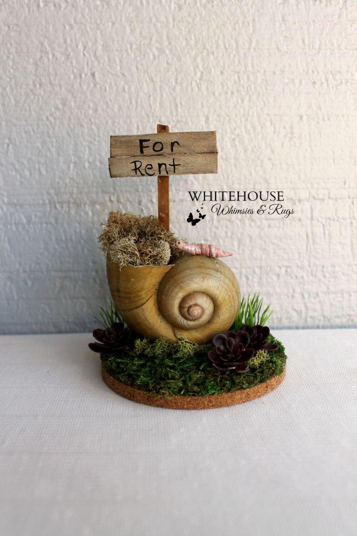 Fairy Garden Snail House For Rent/Snail Garden/Desktop Garden/Realtor Gift/Fairy Garden Accessory/Garden Whimsie/Indoor Fairy Garden by WhimsiesandRugs on Etsy https://www.etsy.com/listing/265280537/fairy-garden-snail-house-for-rentsnail