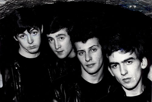 The Beatles before Ringo. Paul, John, Pete, and George at the Cavern Club, Liverpool, 1961 (Dick Matthews)