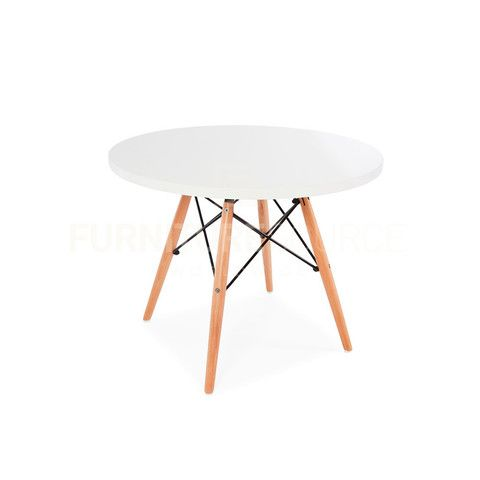 Kids Mid Century Modern Round Top DSW Wood Legs Dining Play Table Eames  Style   White Top