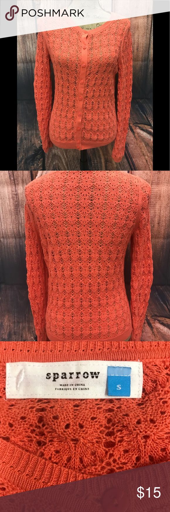 "Anthropologie sparrow size small sweater Anthropologie size small button down sweater measurements are app laying flat armpit to armpit 19"" double for true fit length is 27"" sleeves is 26"" faded orange color preworn condition no rips stains or tears Anthropologie Sweaters"