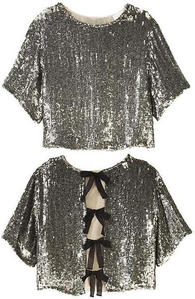 Bow back sequin top
