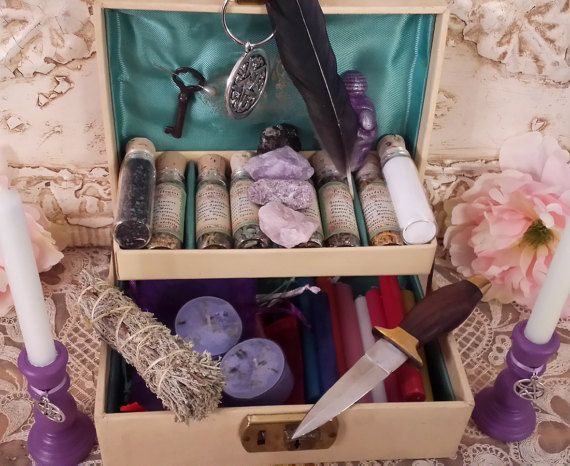Witch's Spell Box Witch Charm Box Pagan Charm by TheShabbyWitch