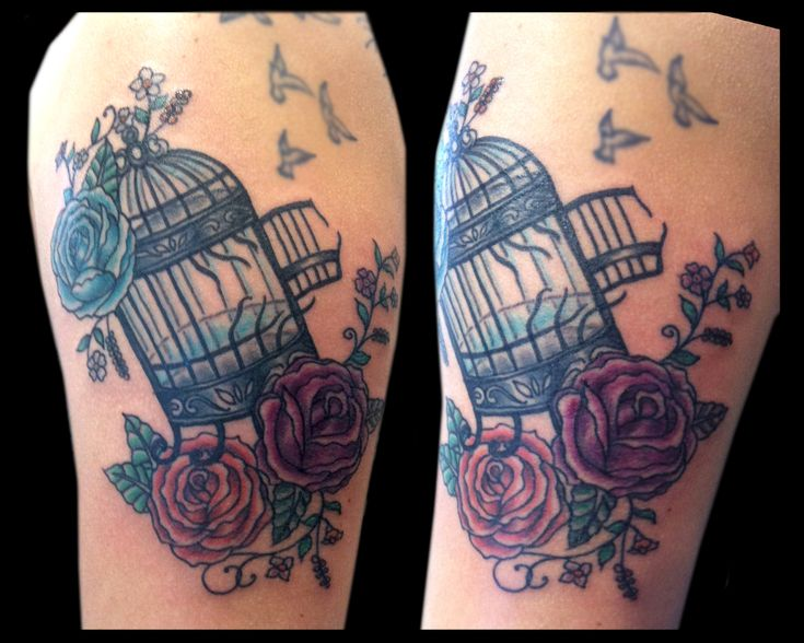 Bird cage tattooed by Jude — at Damask Tattoo in Seattle, WA  birdcage tattoo, bird cage tattoo, roses tattoo, flowers tattoo, flower tattoo, free birds tattoo, broken birdcage tattoo