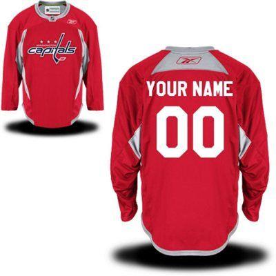 Reebok Washington Capitals Men's Practice Alternate Custom Jersey - Red